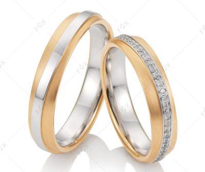 Snubní prsteny řady Felisa se žlutým zlatem s diamantem