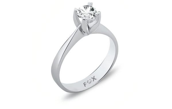 Originální zásnubní prsten zlatnické výroby značky FOX z bílého 18-ti karátového zlata, kterého zdobí centrální diamant